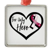 Burgundy and White Awareness Ribbon For My Hero Metal Ornament