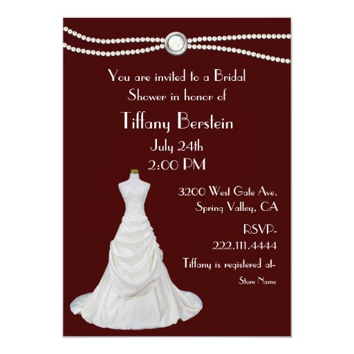Burgundy and White Bridal Shower Invitation | Zazzle
