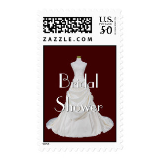 Burgundy and White Bridal Shower Stamp