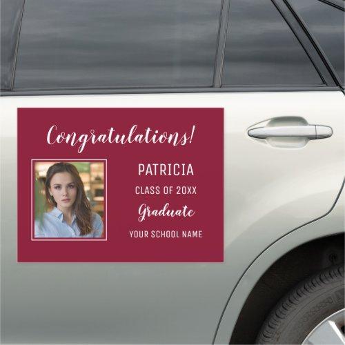 Burgundy And White Congratulation Photo Graduation Car Magnet