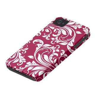 Burgundy and White Damasked Pattern iPhone 4 Case