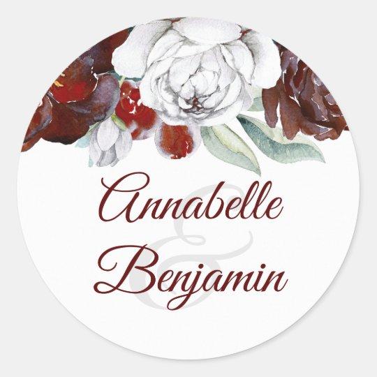 Burgundy and white flowers wedding classic round sticker zazzle burgundy and white flowers wedding classic round sticker mightylinksfo