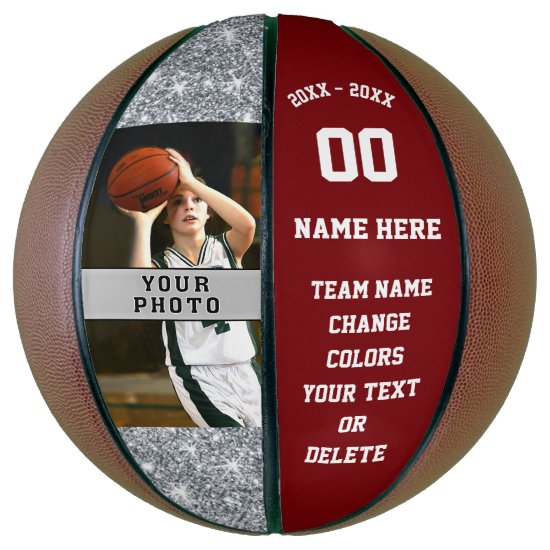 Burgundy and White Personalized Basketball Ball