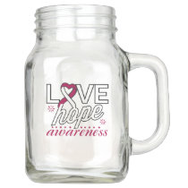 Burgundy and White Ribbon Love Hope Awareness Mason Jar