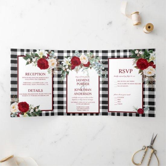 Burgundy and White Roses, Buffalo Plaid Wedding Tri-Fold Invitation