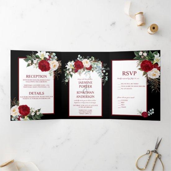 Burgundy and White Roses, on Black Background Tri-Fold Invitation