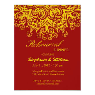 Burgundy and Yellow Rehearsal Dinner Card