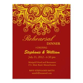 Burgundy and Yellow Rehearsal Dinner Card