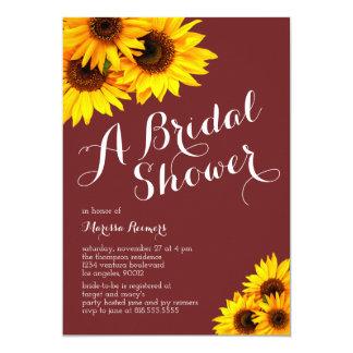 Burgundy and Yellow Sunflowers Bridal Shower Invitation