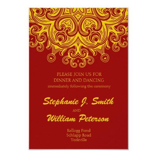 Burgundy and Yellow Wedding Reception Card