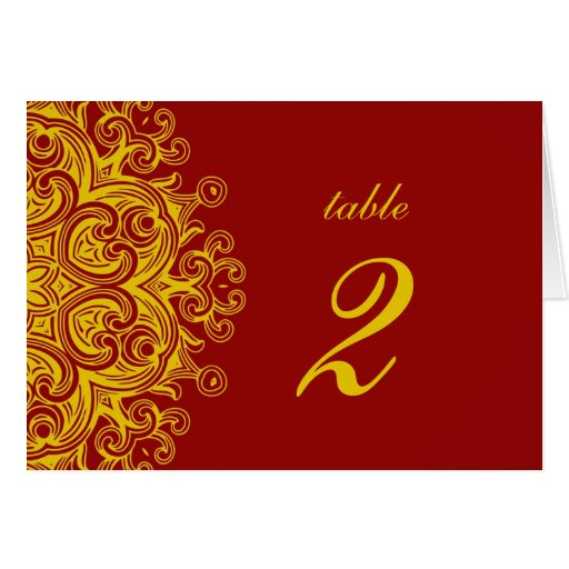 Burgundy and Yellow Wedding Table Number Card