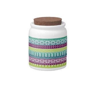 Burgundy Aqua Geometric Aztec Tribal Print Pattern Candy Jar