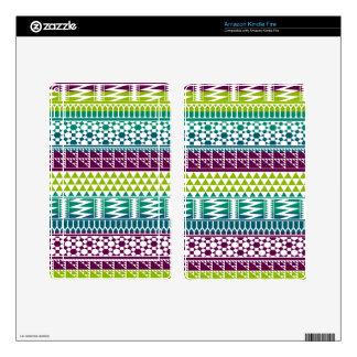 Burgundy Aqua Geometric Aztec Tribal Print Pattern Decal For Kindle Fire