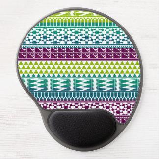 Burgundy Aqua Geometric Aztec Tribal Print Pattern Gel Mouse Pad