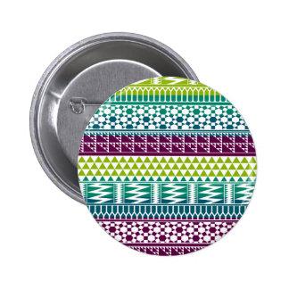 Burgundy Aqua Geometric Aztec Tribal Print Pattern Pinback Button