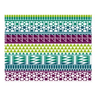Burgundy Aqua Geometric Aztec Tribal Print Pattern Postcard