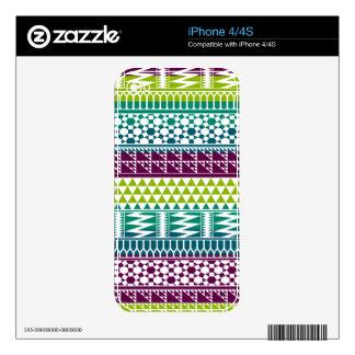 Burgundy Aqua Geometric Aztec Tribal Print Pattern Skin For The iPhone 4