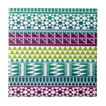 Burgundy Aqua Geometric Aztec Tribal Print Pattern Tile