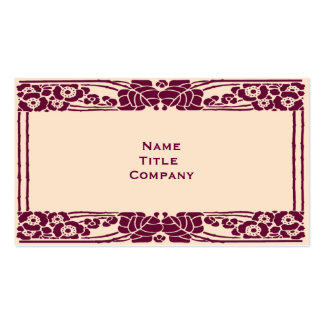 Burgundy Art Nouveau Floral Double-Sided Standard Business Cards (Pack Of 100)