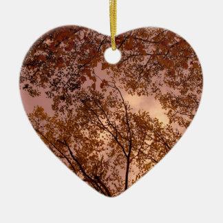 'Burgundy Autumn Abstract' Heart Ornament