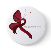 Burgundy Awareness Ribbon Butterfly  Button