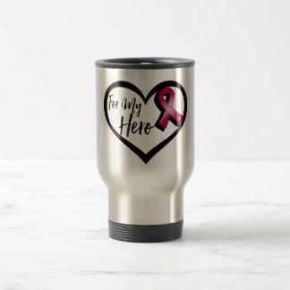Burgundy Awareness Ribbon For My Hero Travel Mug
