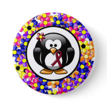 Burgundy Awareness Ribbon Penguin Button