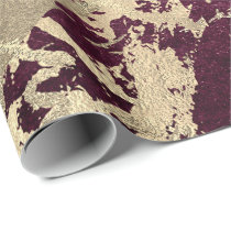Burgundy Beetroot Molten Gold Marble Shiny Metal Wrapping Paper