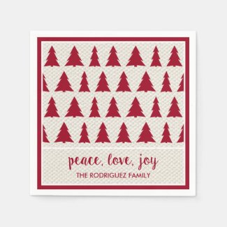 Burgundy Beige Tree Pattern Name Holiday Party Napkin
