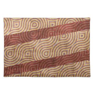Burgundy Beige Wavy Line Diagonals Cloth Placemat