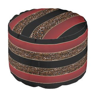 Burgundy, Black and Jaguar Print Pouf