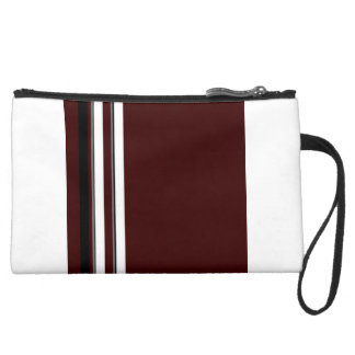 Burgundy Black and White Strips Sueded Mini Clutch