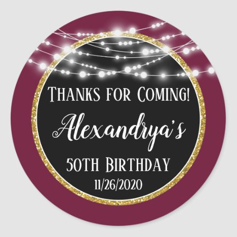 Burgundy Black Birthday Thanks For Coming Favors Classic Round Sticker