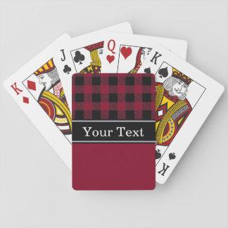 Burgundy Black Buffalo Check Plaid CBN Monogram Playing Cards