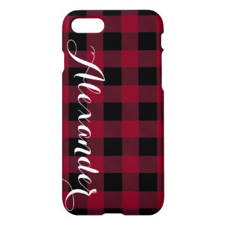 Burgundy Black Buffalo Check Plaid Name Monogram iPhone 7 Case