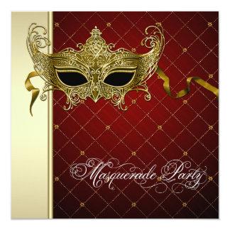 Burgundy Black Gold Masquerade Party Invitations