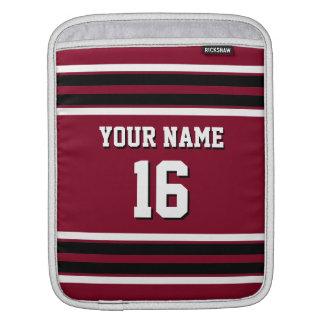 Burgundy Black Team Jersey Custom Number Name iPad Sleeve