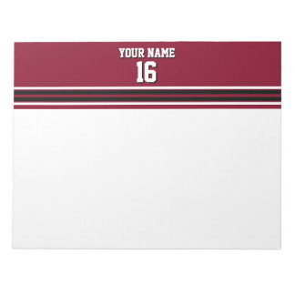 Burgundy Black Wht Team Jersey Custom Number Name Notepad