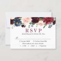 Burgundy Bloom Blush Blue Floral Wedding RSVP