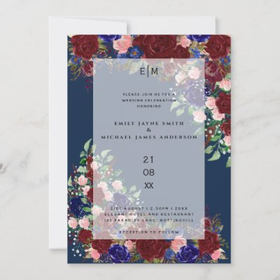 Burgundy Bloom Boho Blue Pink Rose Wedding Overlay Invitation