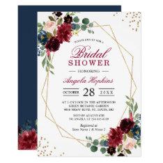 Burgundy Blue Floral Gold Geometric Bridal Shower Invitation at Zazzle