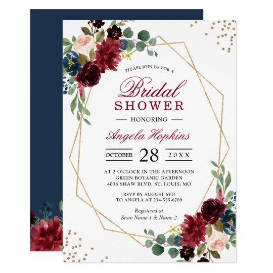58cc347b03f3 Burgundy Blue Floral Gold Geometric Bridal Shower Invitation ...