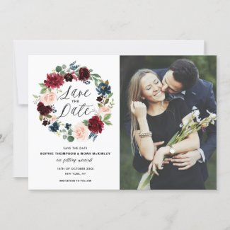 Burgundy & Blue Floral Wreath Photo Save the Date