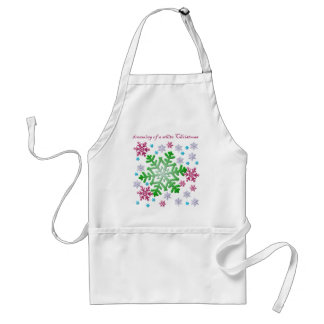 Burgundy Blue Green & Silver Snowflakes Adult Apron