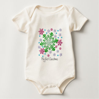Burgundy Blue Green & Silver Snowflakes Baby Bodysuit