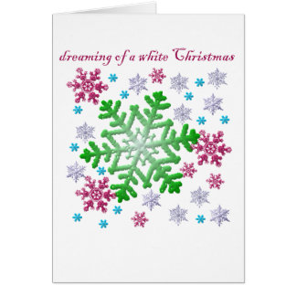 Burgundy Blue Green & Silver Snowflakes Card