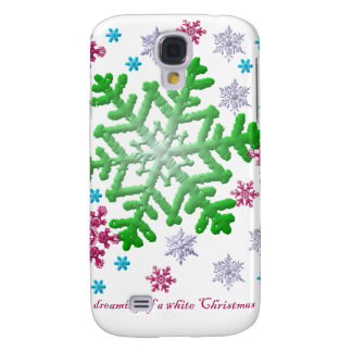 Burgundy Blue Green & Silver Snowflakes Samsung Galaxy S4 Case