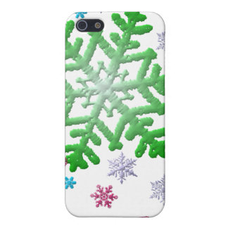 Burgundy Blue Green & Silver Snowflakes Case For iPhone SE/5/5s