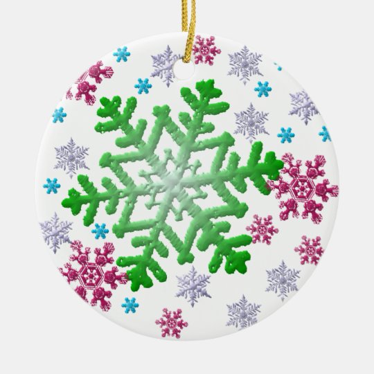 Burgundy Blue Green & Silver Snowflakes Ceramic Ornament