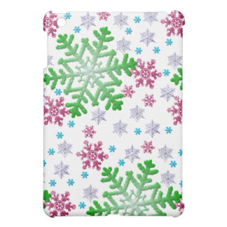 Burgundy Blue Green & Silver Snowflakes Cover For The iPad Mini